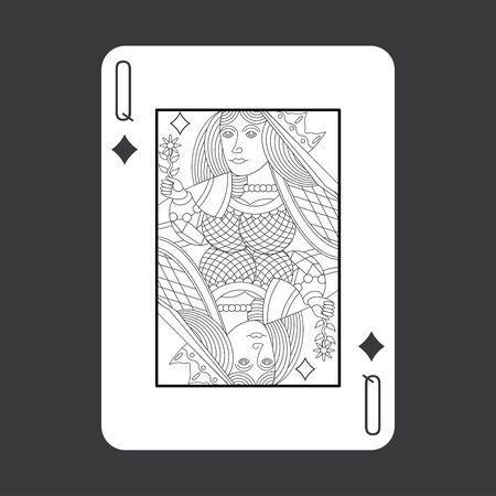 women sport: Single playing cards vector: Queen Diamonds