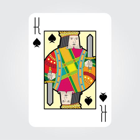 rey: cartas de juego único vector: Picas Rey