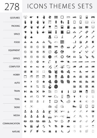 readymade: A large set of ready-made vector icons on various topics: gestures, signs, communication, nature, computer, space, packing, food, hobby, equipment, tool, auto, sea, train, mobile, office.