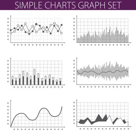 line graph: Simple vector illustration with graphs and charts. For infographics and presentations.