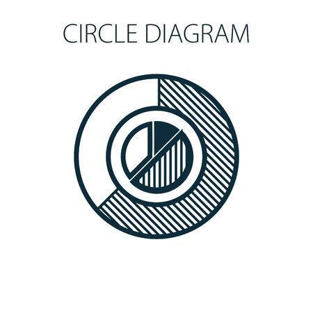 Simple vector illustration with circle diagram. To visualize the presentation and processing of data. Vettoriali