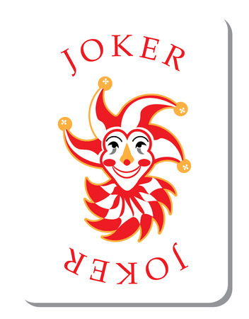 clown face: Playing cards with the Joker from a deck of playing cards
