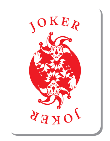 Jugando a las cartas con el Joker de una baraja de naipes Ilustración de vector