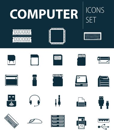 lcd monitor printer: Set of ready-made simple vector icons: computer