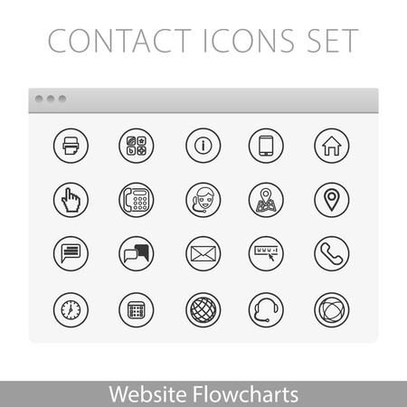 Illustrazione semplice per diagrammi di flusso Sito web: kit di Contatto icone