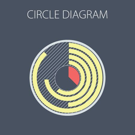 Simple vector illustration with circle diagram. To visualize the presentation and processing of data. Ilustração