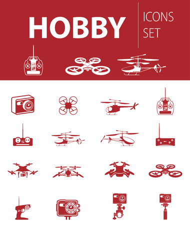 Set of ready-made simple vector icons: hobby rc