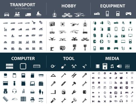 Set of ready-made simple vector icons on various topics: transport, hobby, equipment, computer, tool, media Illustration