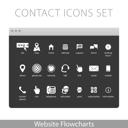 Simple illustration for Website Flowcharts: Contact icons kit Stock Vector - 52195884