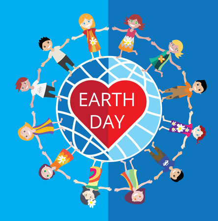 Earth Day Celebration Poster Design Template with cartoon illustration of a group of happy children boys and girls. They stand in a circle around the earth.