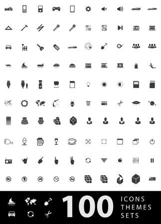 Un gran conjunto de iconos únicos para el diseño y la tecnología moderna de temas Vaus