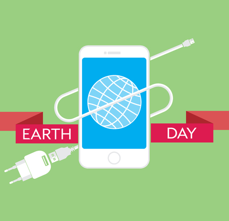 network cable: Earth Day Celebration Poster Design Template with modern mobile phone with charger cable, power supply unit and an illustration of the earth.