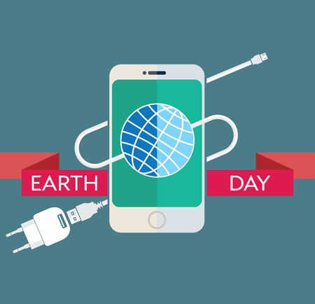 power supply unit: Earth Day Celebration Poster Design Template with modern mobile phone with charger cable, power supply unit and an illustration of the earth.