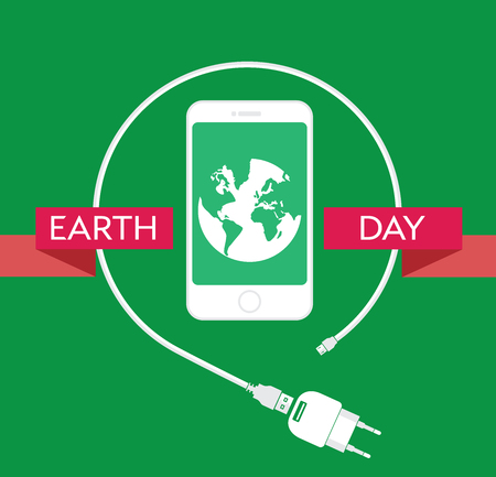 power supply unit: Earth Day Celebration Poster Design Template with modern mobile phone with charger cable, power supply unit and an illustration of the earth. Editable vector illustration EPS10 and large jpg.