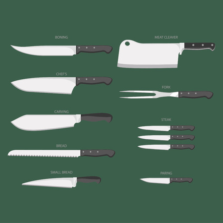 Vector clip art: types of kitchen knives