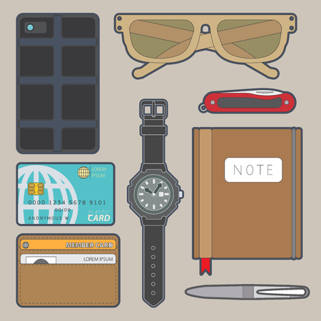 Illustration of daily use items