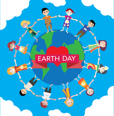 green little planet earth: Earth Day Celebration Poster Design Template with cartoon illustration of a group of happy children boys and girls. They stand in a circle around the earth.