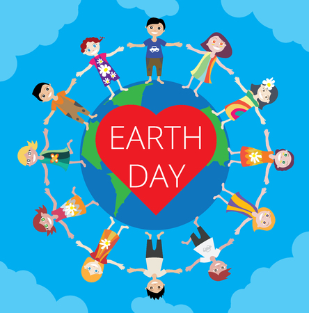 green little planet earth: Earth Day Celebration Poster Design Template with cartoon illustration of a group of happy children boys and girls.