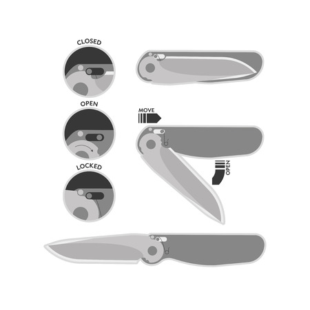 current: Current illustration topical types of locks folding knives handheld for everyday use.