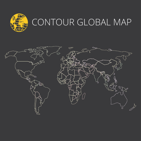 global communication: World map vector illustration. High-quality image in the style of broken lines, detail and continents of the world. Colour identification. Global map for your design or application.