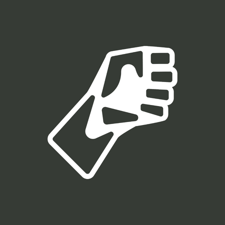 revolt: Fist of the men in the backswing and ready to strike. Simple icon. Design element.