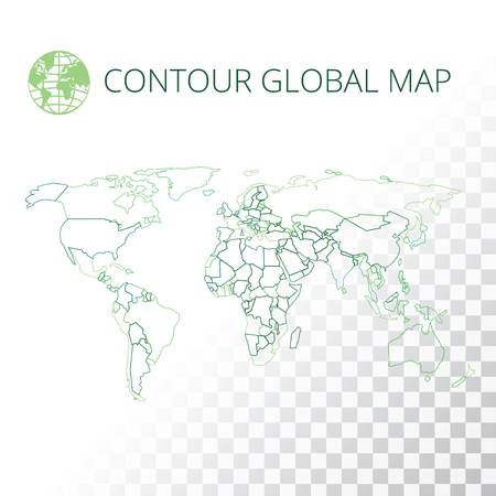 vector world map vector illustration high quality image in the style of broken lines detail and continents of the world colour identification