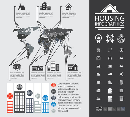 an analyst: Charts and analysis on urban housing. News reporting on buildings and homes. Urban housing analyst. Charts, diagrams and additional set of icons.