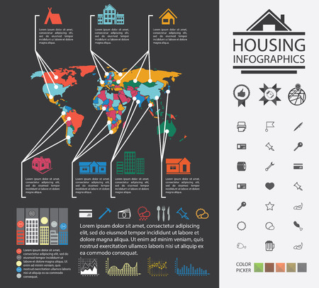 urban housing: Charts and analysis on urban housing. News reporting on buildings and homes. Urban housing analyst. Charts, diagrams and additional set of icons.