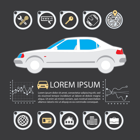 Information Graphics design element and vehicle. Illustrations for the use of imaging information about the car and transport. Set elements of infographics. Illustration