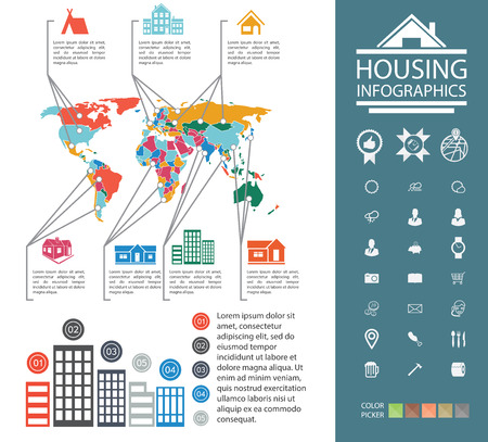urban housing: City property analyst. Graphs, diagrams and more set of icons. A ready material for the presentation. Elements of infographics urban housing. Data reporting on buildings and homes.