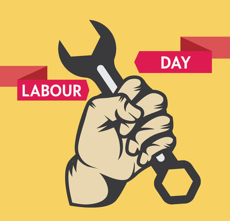 revolt: Stock Vector colorful cartoon illustration of Labor Day concept Celebration Poster Design Template with closed fist mans hand holding wrench.