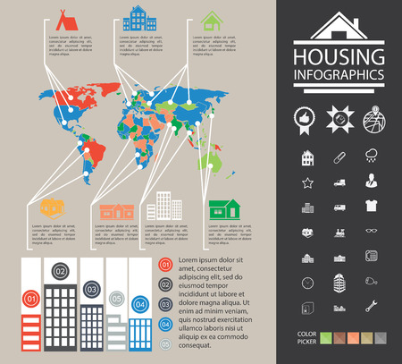 an analyst: Data reporting on buildings and homes. Urban housing information. Charts, diagrams and additional set of icons. Ready material for the presentation. House Infographics. Data reporting on buildings and homes. City property analyst. Graphs, diagrams and mor