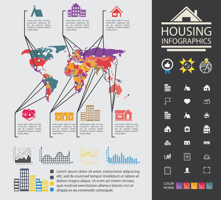 information symbol: City property analyst. Graphs, diagrams and more set of icons. A ready material for the presentation. Infographics Elements of building. Data reporting on buildings and homes. City property analyst. Graphs, diagrams and more set of icons. A ready material Illustration