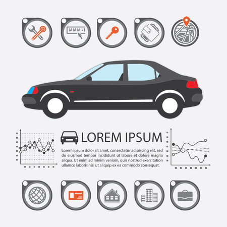 Information Graphics design element and vehicle. Illustrations for the use of imaging information about the car and transport. Set elements of infographics. Vectores