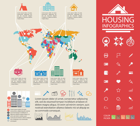urban housing: Ready material for the presentation. Charts and analysis on urban housing. Data reporting on buildings and homes.