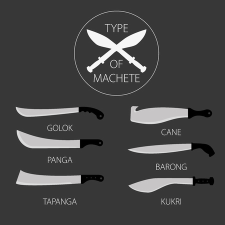 cold war: Vector Illustrations variants types of knives machetes. Icon for web design, instructions and illustrations. Perfect for easy handling. Set of ready-made simple vector icons.