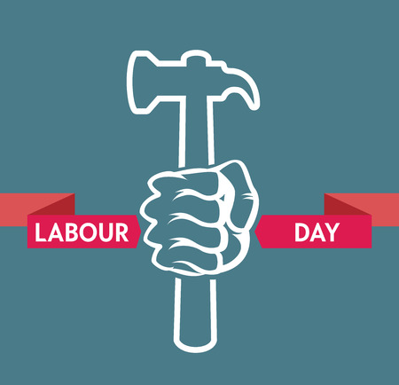 closed fist: Stock Vector colorful cartoon illustration of Labor Day concept Celebration Poster Design Template with closed fist mans hand holding wrench.