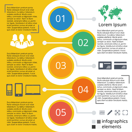 Elements of vector graphics for infographics. Template for presentations, graphs, charts. Business style, the concept of a five-step options.