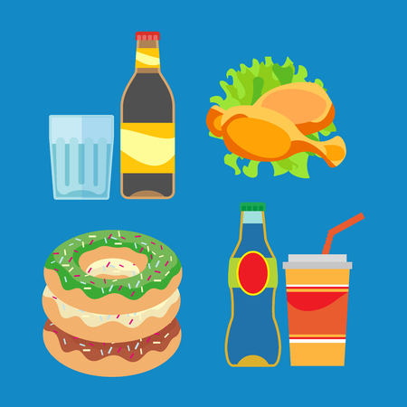 Illustration of fast food products. Pictures diverse street food for a quick snack. Bright color image in a vector for high quality products. 向量圖像