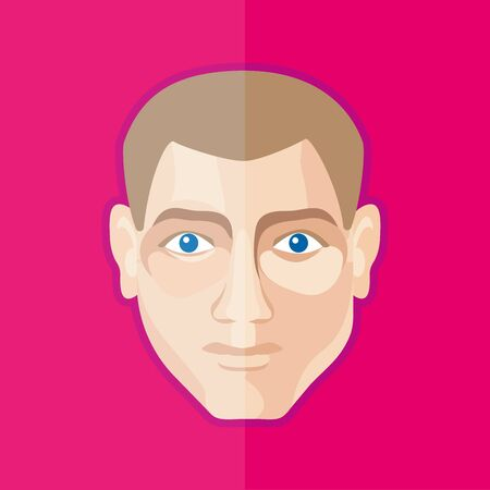 The young mans head. Vector colored detailed illustration ready for editing for various forms and types of faces of men.