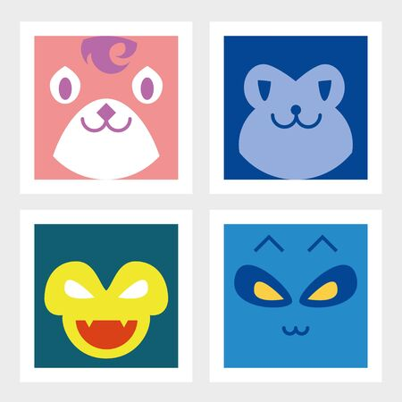 Angry, colorful, funny animals anime. Vector illustration.