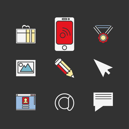 Web icons set.Simple design of flat shapes and color-filled, vector illustration. Design elements for web and mobile applications.