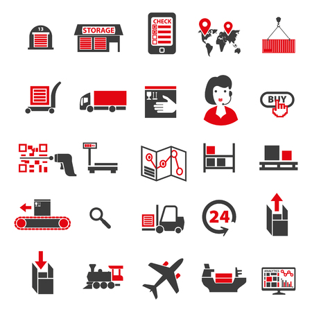 Set of icons on a theme of universal logistics, transport of goods and commodities. Stages of purchase to obtain a customers goods.