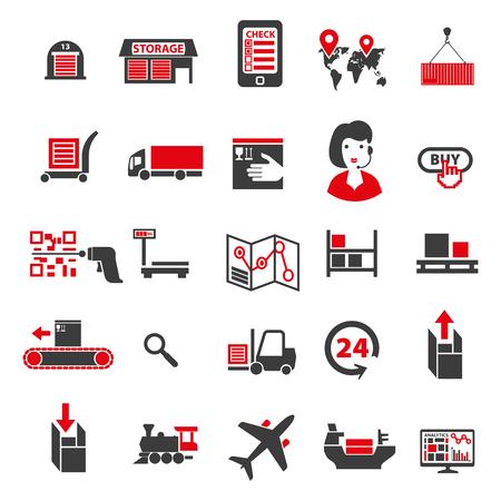 Set von Icons zu einem Thema der Universal-Logistik, Transport von Waren und Waren. Phasen des Kaufs, um die Waren eines Kunden zu erhalten. Standard-Bild - 73025288