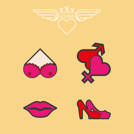 Erotic icons set. Icons Sexy theme for the sex shops or adult content. Sexy image underwear, female breast, heart and lips. Different types of contraceptive means. Sex toys. Illustration