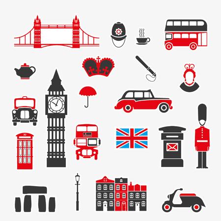 Conjunto de iconos sobre el tema de Inglaterra y el Reino de Gran Bretaña. Ilustración de vector color para ideas móviles y visualización de diseño. Foto de archivo - 73321592