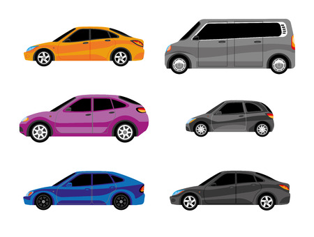 Different versions of vehicle types. Different colors of car bodies.
