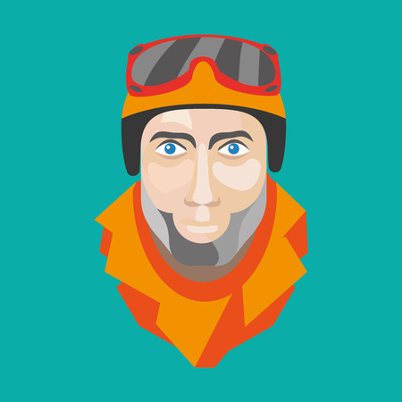 Faces skier or snowboarder made in a flat vector style. Ready-quality illustration for winter sports. Illustration
