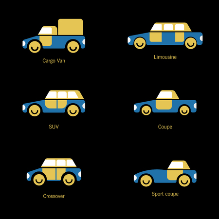 The design of cars of different types of body painting for various catalogs of urban traffic and presentations. Ilustracja