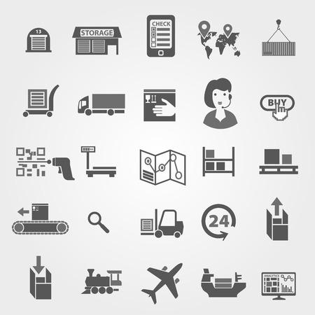 普遍的な物流のテーマに、商品および商品の輸送上のアイコンのセットです。お客様の商品を取得する購入の段階。